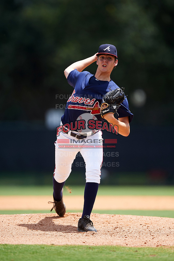 GCL Braves starting pitcher Ian Anderson (64) delivers a warmup pitch during a game against the GCL Blue Jays on August 5, 2016 at ESPN Wide World of Sports in Orlando, Florida.  GCL Braves defeated the GCL Blue Jays 9-0.  (Mike Janes/Four Seam Images)