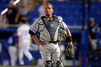 Tampa Yankees catcher Francisco Arcia walks off the field after a game against the Dunedin Blue Jays on April 11, 2013 at Florida Auto Exchange Stadium in Dunedin, Florida.  Dunedin defeated Tampa 3-2 in 11 innings.  (Mike Janes/Four Seam Images)