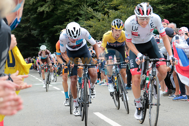 Tadej Pogacar (SLO) UAE Team Emirates, White Jersey Egan Bernal (COL) Ineos Grenadiers and Primoz TRoglic (SLO) Jumbo-Visma climb the Col de Marie Blanque during Stage 9 of Tour de France 2020, running 153km from Pau to Laruns, France. 6th September 2020. <br /> Picture: Colin Flockton | Cyclefile<br /> All photos usage must carry mandatory copyright credit (© Cyclefile | Colin Flockton)