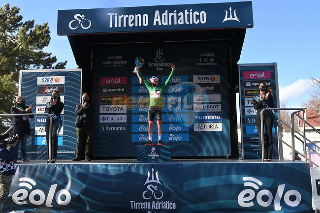 Tadej Pogacar (SLO) UAE Team Emirates wins Stage 4 and also takes over the mountains Maglia Verde of Tirreno-Adriatico Eolo 2021, running 148km from Terni to Prati di Tivo, Italy. 13th March 2021. <br /> Photo: LaPresse/Gian Mattia D'Alberto | Cyclefile<br /> <br /> All photos usage must carry mandatory copyright credit (© Cyclefile | LaPresse/Gian Mattia D'Alberto)