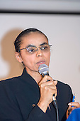 Manaus, Brazil. Brazilian Presidential candidate Marina Silva (Environment Minister at the time) delivers a speech at the Religion, Science and the Environment Symposium organised by the Patriarch of the Greek Orthodox Church, July 2006.