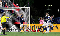 Foxborough, Massachusetts - October 13, 2018: In a Major League Soccer (MLS) match, New England Revolution (blue/white) defeated Orlando City SC (white), 2-0, at Gillette Stadium.Goal.