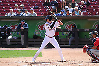 Wisconsin Timber Rattlers first baseman Chad McClanahan (22) at bat during a game against the Cedar Rapids Kernels on September 8, 2021 at Neuroscience Group Field at Fox Cities Stadium in Grand Chute, Wisconsin.  (Brad Krause/Four Seam Images)