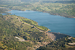 Amador County during spring from the air..Pardee Reservoir and Dam