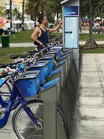 Miami Beach, Florida.  Citibike, the South Beach Bike-share Program.