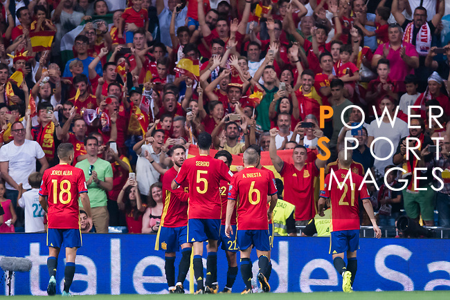 Players of Spain celebrates during their 2018 FIFA World Cup Russia Final Qualification Round 1 Group G match between Spain and Italy on 02 September 2017, at Santiago Bernabeu Stadium, in Madrid, Spain. Photo by Diego Gonzalez / Power Sport Images