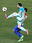 Atletico de Madrid's Diego Godin (r) and FC Barcelona's Leo Messi during Spanish Kings Cup semifinal 1st leg match. February 01,2017. (ALTERPHOTOS/Acero)
