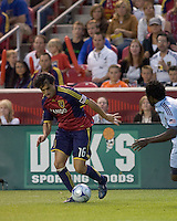 Real Salt Lake forward Fabian Espindola (16) dribbles. Real Salt Lake tied the Colorado Rockies, 1-1, at Rio Tinto Stadium on June 6, 2009.