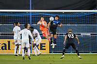 SAN JOSE, CA - NOVEMBER 4: San Jose Earthquakes goalkeeper JT Marcinkowski #18 reacts to a ball played into the box during a game between Los Angeles FC and San Jose Earthquakes at Earthquakes Stadium on November 4, 2020 in San Jose, California.