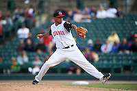 Rochester Red Wings relief pitcher David Martinez (37) delivers a pitch during a game against the Toledo Mudhens on June 12, 2016 at Frontier Field in Rochester, New York.  Rochester defeated Toledo 9-7.  (Mike Janes/Four Seam Images)