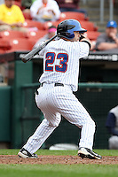 Buffalo Bisons designated hitter Jesus Feliciano #23 at bat during a game against the Charlotte Knights at Dunn Tire Park on May 22, 2011 in Buffalo, New York.  Buffalo defeated Charlotte by the score of 7-5.  Photo By Mike Janes/Four Seam Images