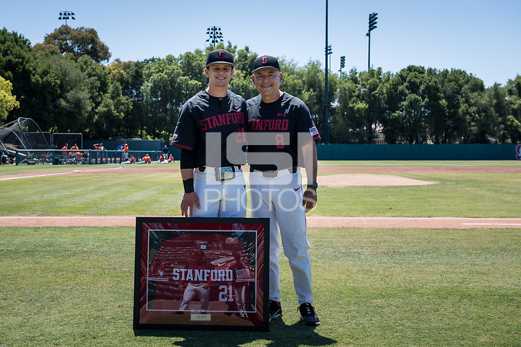 STANFORD, CA - MAY 29: Senior Tim Tawa, David Esquer before a game between Oregon State University and Stanford Baseball at Sunken Diamond on May 29, 2021 in Stanford, California.