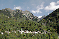 Switzerland. Canton of Ticino. Val di Blenio (Blenio valley). Village of Dangio. Catholic church. Pian Premesti mountain. © 2006 Didier Ruef