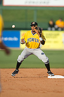 Pablo Reyes (15) of the West Virginia Power waits for a throw at second base during the game against the Kannapolis Intimidators at CMC-Northeast Stadium on April 21, 2015 in Kannapolis, North Carolina.  The Power defeated the Intimidators 5-3 in game one of a double-header.  (Brian Westerholt/Four Seam Images)