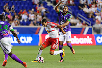Harrison, NJ - Wednesday Aug. 03, 2016: Sean Davis, Manfred Russell during a CONCACAF Champions League match between the New York Red Bulls and Antigua at Red Bull Arena.