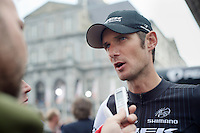 Frank Schleck (LUX/Trek Factory Racing) interviewed before the start<br /> <br /> Amstel Gold Race 2014
