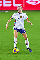 18th February 2021, Orlando, Florida, USA;  United States defender Abby Dahlkemper (7) dribbles the ball during a SheBelieves Cup game between Canada and the United States on February 18, 2021 at Exploria Stadium in Orlando, FL.