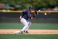 New York Yankees Oswaldo Cabrera (9) during a Minor League Spring Training game against the Detroit Tigers on March 21, 2018 at the New York Yankees Minor League Complex in Tampa, Florida.  (Mike Janes/Four Seam Images)