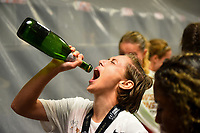 Orlando, FL - Saturday October 14, 2017:  Meghan Klingenberg and her Portland Thorns FC celebrate their National Women's Soccer League (NWSL) Championship win by defeating North Carolina Courage 1-0 during the NWSL Championship match between the North Carolina Courage and the Portland Thorns FC at Orlando City Stadium.