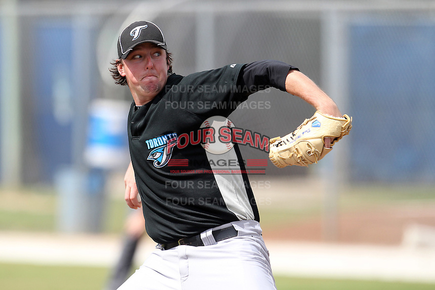 Toronto Blue Jays pitcher Deck McGuire #51 during an Instructional League game against the Philadelphia Phillies at Englebert Complex on October 12, 2011 in Dunedin, Florida.  (Mike Janes/Four Seam Images)