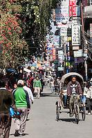 Nepal, Kathmandu.  Thamel Street Scene.