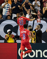 NASHVILLE, TN - JULY 4: Christian Pulisic #10 celebrates his goal during a game between Jamaica and USMNT at Nissan Stadium on July 4, 2019 in Nashville, Tennessee.