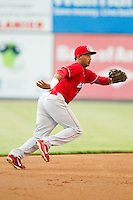 Lakewood BlueClaws shortstop Angelo Mora (18) on defense against the Kannapolis Intimidators at CMC-Northeast Stadium on August 13, 2013 in Kannapolis, North Carolina.  The Intimidators defeated the BlueClaws 12-8.  (Brian Westerholt/Four Seam Images)