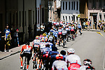 The peloton strung out during Stage 5 of the 2019 Tour de France running 175.5km from Saint-Die-des-Vosges to Colmar, France. 10th July 2019.<br /> Picture: ASO/Pauline Ballet | Cyclefile<br /> All photos usage must carry mandatory copyright credit (© Cyclefile | ASO/Pauline Ballet)