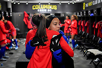 COLUMBUS, OH - NOVEMBER 07: Mallory Pugh #2 of the United States in the locker room during a game between Sweden and USWNT at MAPFRE Stadium on November 07, 2019 in Columbus, Ohio.