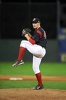 Batavia Muckdogs pitcher Ryley MacEachern (40) delivers a pitch during a game against the Lowell Spinners on August 12, 2015 at Dwyer Stadium in Batavia, New York.  Batavia defeated Lowell 6-4.  (Mike Janes/Four Seam Images)