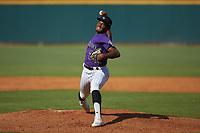 Kenya Huggins, Jr (26) of St Augustine HS in Avondale, LA playing for the Colorado Rockies scout team in action during the East Coast Pro Showcase at the Hoover Met Complex on August 5, 2020 in Hoover, AL. (Brian Westerholt/Four Seam Images)