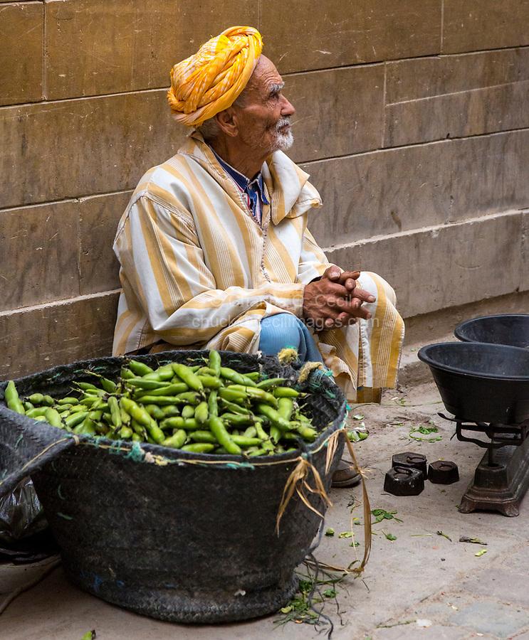 Fes, Morocco.  Vendor Selling Fava Beans in the Medina.