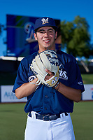 AZL Brewers Blue Santiago Elizondo poses for a photo before an Arizona League game against the AZL Athletics Gold on July 2, 2019 at American Family Fields of Phoenix in Phoenix, Arizona. AZL Athletics Gold defeated the AZL Brewers Blue 11-8. (Zachary Lucy/Four Seam Images)