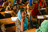 "MALI, Gao, school of catholic church, muslim pupils , the school was during the war 2012 occupied and partly destroyed by islamic extremists/ katholische Schule ECSG ""Ecole Catholique Soeur Geneviève"", Schule wurde während des Krieges 2012 von Islamisten als Quartier genutzt und zerstört, Unterrichtsraum, muslimische Maedchen"