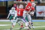Southern Methodist Mustangs quarterback Matt Davis (4) in action during the game between the Tulane Green Wave and the SMU Mustangs at the Gerald J. Ford Stadium in Dallas, Texas.