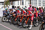 Riders line up for the start of Stage 6 of the 2021 UAE Tour running 165km from Deira Island to Palm Jumeirah, Dubai, UAE. 26th February 2021.  <br /> Picture: Eoin Clarke   Cyclefile<br /> <br /> All photos usage must carry mandatory copyright credit (© Cyclefile   Eoin Clarke)