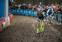 Sven Nys (BEL/Crelan-AAdrinks) dancing over the mud-section<br /> <br /> 2016 Belgian National CX Championships