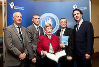 """**** NO FEE PIC***.12/04/2012 .(L to r) Ray McAndrew,Chair of the Commission for the Support of Victims of Crime.Dr. Shane Kilcommins UCC,.Gillian Hussey Chair of Crime Victims Helpline,.David McKenna President of Victim Support Europe,.Prof Anthony Pemberton International Victimology Institute Tilburg.during a conference on the """"The EU Directive on Victims Rights: Opportunities and Challenges for Ireland"""" hosted by the the Irish Council for Civil Liberties (ICCL) in Dublin Castle..Photo: Gareth Chaney Collins"""