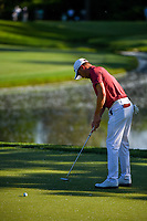 4th June 2021; Dublin, Ohio, USA; Justin Thomas (USA) barely misses his par putt on 5 during the Memorial Tournament Rd2 at Muirfield Village Golf Club on June 4, 2021 in Dublin, Ohio.