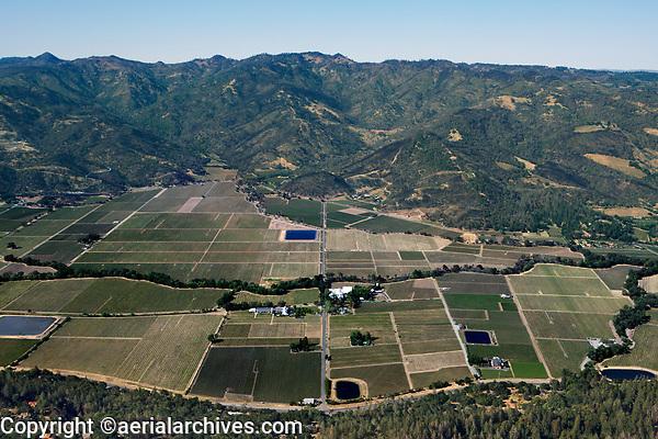 aerial photograph across Napa Valley at Larkmead Lane, Calistoga, Napa County, California