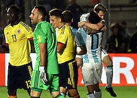 SAN JUAN- ARGENTINA-15-11-2016: Lionel Messi (Der.), jugador de Argentina, celebra el gol anotado a Colombia, durante partido entre los seleccionados de Argentina y Colombia por la fecha 12 válido por la clasificación a la Copa Mundo FIFA Rusia 2018, jugado en el Estadio San Juan del Bicentenario de la ciudad de San Juan. /  Lionel Messi (R), player of Argentina, celebrates a scored goal to Colombia, during match between Argentina and Colombia for the date 12 valid for the  FIFA World Cup Russia 2018, Qualifier played at San Juan del Bicentenario Stadium in San Juan city. Photo: VizzorImage / Mario Garcia /Photogamma / Cont.