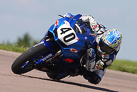 AMA Sportbike racer Jason DiSalvo races though a turn during the Tornado Nationals at Heartland Park Topeka, in Topeka, Kansas,August 1, 2009. (Photo by Brian Cleary/www.bcpix.com)