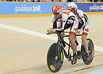 November 15 2011 - Guadalajara, Mexico:  Daniel Chalifour with his pilot Ed Veal during the Men's Pursuit Final competing in the Men's C1-C5 1k in the Panamerican Velodrome at the 2011 Parapan American Games in Guadalajara, Mexico.  Photos: Matthew Murnaghan/Canadian Paralympic Committee