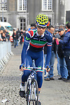 Italian National Champion Giovanni Visconti (ITA) Movistar Team makes his way to sign on before the start of the 98th edition of Liege-Bastogne-Liege outside the Palais des Princes-Eveques, running 257.5km from Liege to Ans, Belgium. 22nd April 2012.  <br /> (Photo by Eoin Clarke/NEWSFILE).