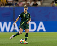GRENOBLE, FRANCE - JUNE 18: Steph Catley #7 of the Australian National Team passes the ball during a game between Jamaica and Australia at Stade des Alpes on June 18, 2019 in Grenoble, France.