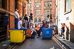 © Joel Goodman - 07973 332324 . 26/08/2017. Manchester , UK. Crowds watch from side streets at the 2017 Pride parade through Manchester City Centre . The annual festival , which is the largest of its type in Europe , celebrates LGBT life . Photo credit : Joel Goodman