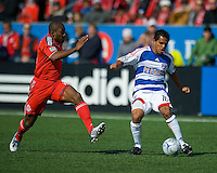 11 April 2009:Toronto FC defender Marvell Wynne #16 and FC Dallas midfielder David Ferreira #10 in action during MLS action at BMO Field Toronto, in a game between FC Dallas and Toronto FC. .Final score was a 1-1 draw.