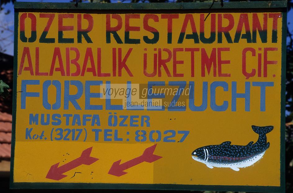 Europe/Turquie/Altinyata : Détail enseigne de pisciculture