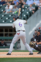 Josh Satin (6) of the Louisville Bats at bat against the Charlotte Knights at BB&T BallPark on May 12, 2015 in Charlotte, North Carolina.  The Knights defeated the Bats 4-0.  (Brian Westerholt/Four Seam Images)