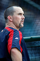 Trot Nixon of the Cleveland Indians during batting practice before a game from the 2007 season at Angel Stadium in Anaheim, California. (Larry Goren/Four Seam Images)